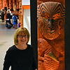 Anne with Māori carving
