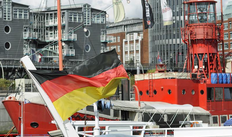 German flag in Hamburg port