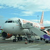 """Boarding tartan liveried EasyJet Airbus A319 G-EZBF """"Inverness"""" at London Luton airport on my flight to the Isle of Man, 13.10.17."""