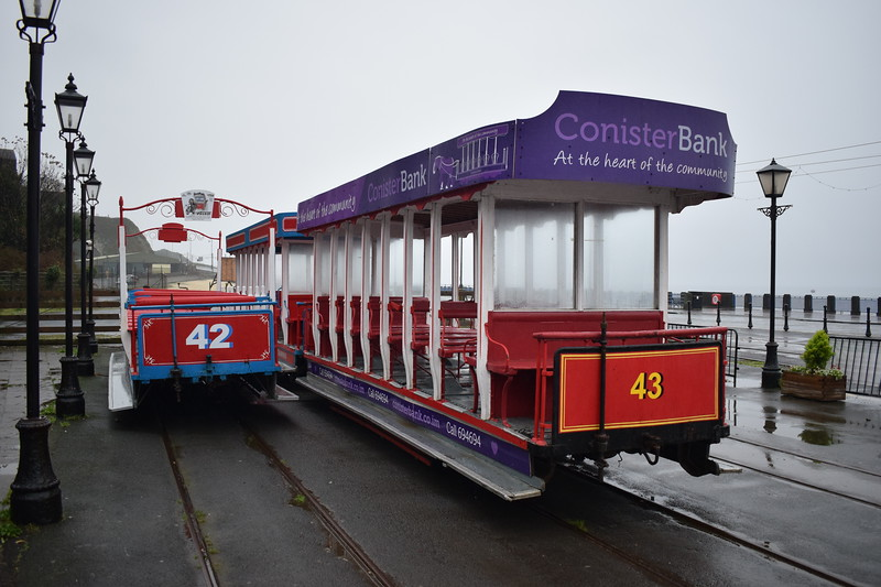 Douglas Bay Horse Tramway United Electric Car Co Ltd. Roofed toastrack tram no. 43 with open car no. 42 at the Derby Castle terminus, 14.10.17.