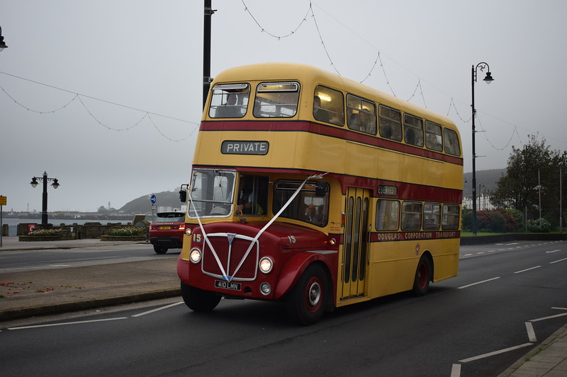 Former Isle of Man Transport Willowbrook AEC Regent V 410LMN 15 on Douglas Promenade on wedding duties, 13.10.17.