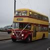 Former Isle of Man Transport Willowbrook AEC Regent V 410LMN 15 on Douglas Promenade on wedding duties, 13.10.17.