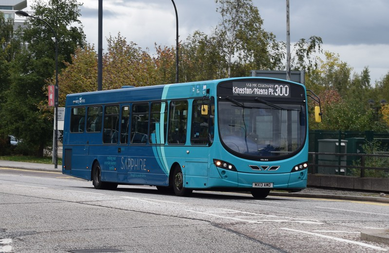 Arriva Sapphire debranded VDL Wright Pulsar MX13AMO 3776 at Milton Keynes Central on the 300 to Magna Park, 07.10.17.