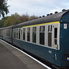 A matching set of BR Blue liveried Mark I and Mark II coaches at North Weald on the Epping Ongar Railway, 22.10.17.