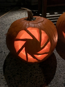 """Connor's """"aperture science"""" pumpkin (that I carved for him)"""