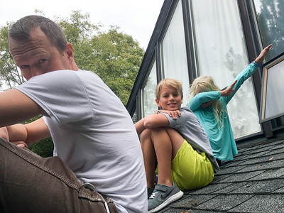 On the roof with dad
