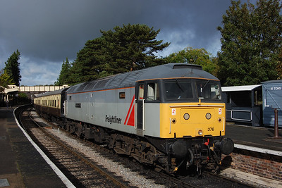 Under a threatening Autumn sky, 47376 'Freightliner 1995' waits time at Winchcombe with the 2T54 1025 from Cheltenham Race Course to Toddington 07/10/2017)