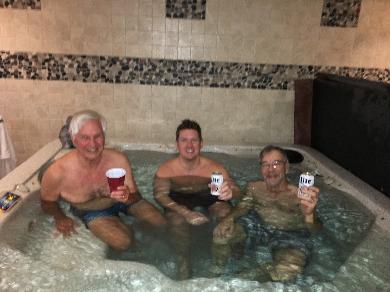 STAN, BRYAN AND DOUG ENJOY THEIR REWARD AFTER X-COUNTRY SKING