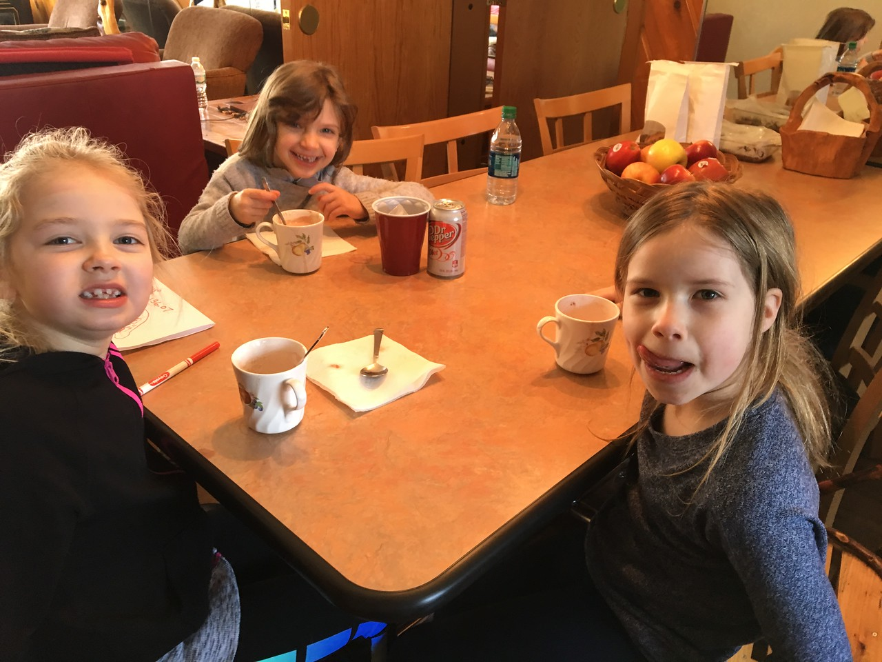 OUR 3 YOUNG LADIES MIA, ELLIE AND PEYTON ENJOYING THEIR HOT CHOCOLATE