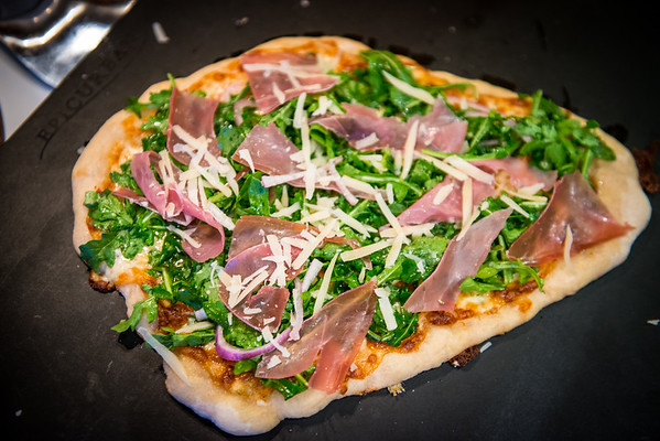 Our first attempt at making pizza!  Argula and Prosciutto pizza