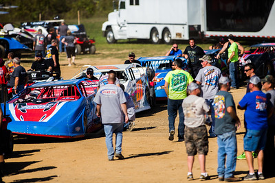 Cars in line for Lucas Oil Late Model Dirt Series technical inspection