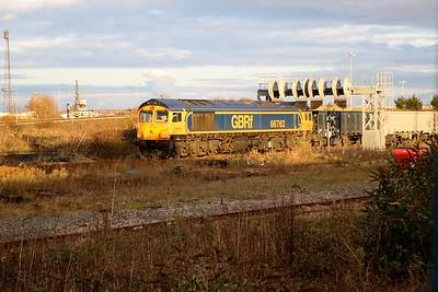 GBFR 66762 seen on a rake of JNAs in Immingham Reception Sidings.