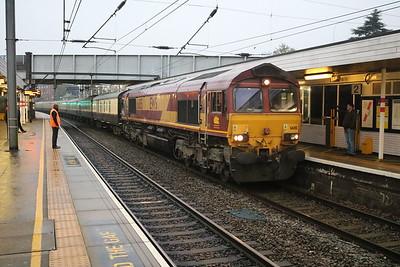 66115 tnt 66020 0727/1Z88 St.Albans-Killingholme arrives ecs at its starting destination St.Albans.