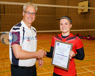 Scottish Volleyball Association Final Whistle Media Women's Player of the Year Awards 2016-17, Sat 29th Apr 2017, Queensferry HS. Laura McReady (2nd Place).  © Michael McConville  http://www.volleyballphotos.co.uk/2017/SCO/League/20170429-presentations