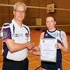Scottish Volleyball Association Final Whistle Media Women's Player of the Year Awards 2016-17, Sat 29th Apr 2017, Queensferry HS. Joanne Morgan (1st Place).  © Michael McConville  http://www.volleyballphotos.co.uk/2017/SCO/League/20170429-presentations