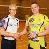 Scottish Volleyball Association Men's SVL2 Trophy Presentation, Sat 29th Apr 2017, Queensferry HS.. Simon Coleman (SVA), Alex Doinikovs (Livingston Lizards).  © Michael McConville  http://www.volleyballphotos.co.uk/2017/SCO/League/20170429-presentations