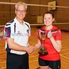 Scottish Volleyball Association Women's Premier League Trophy Presentation, Sat 29th Apr 2017, Queensferry HS. Simon Coleman (SVA), Jillian Galloway (Su Ragazzi).  © Michael McConville  http://www.volleyballphotos.co.uk/2017/SCO/League/20170429-presentations