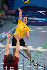 Scottish Student Sport, Men's Final, Institute of Sport and Exercise, University of Dundee, Sun 12th Feb 2017.  Strathclyde University v University of Glasgow (25-17, 22-25, 13-25, 28-26, 15-??)  © Michael McConville  http://www.volleyballphotos.co.uk/2017/SCO/SSS/20170212-SSS-mens-final