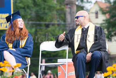 Superintendent of Schools Dr. Roberto Padilla, right, shares a moment with Valedictorian Katherine Gravel as Newburgh Free Academy held its 152nd Commencement Exercises for the graduating Class of 2017 on Academy Field in the City of Newburgh, NY on Thursday, June 22, 2017. Hudson Valley Press/CHUCK STEWART, JR.