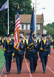 The NFA JR ROTC Color Guard leads the Academic Processional of Graduates for Newburgh Free Academy's  152nd Commencement Exercises for the graduating Class of 2017 on Academy Field in the City of Newburgh, NY on Thursday, June 22, 2017. Hudson Valley Press/CHUCK STEWART, JR.