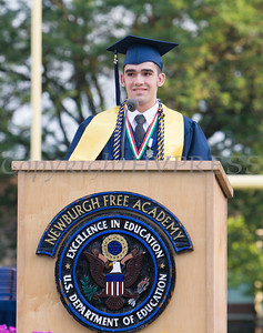 Salutatorian Juan Peticco addresses fellow classmates during Newburgh Free Academy's 152nd Commencement Exercises for the graduating Class of 2017 on Academy Field in the City of Newburgh, NY on Thursday, June 22, 2017. Hudson Valley Press/CHUCK STEWART, JR.