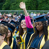A student waves to relatives during Newburgh Free Academy's 152nd Commencement Exercises for the graduating Class of 2017 on Academy Field in the City of Newburgh, NY on Thursday, June 22, 2017. Hudson Valley Press/CHUCK STEWART, JR.
