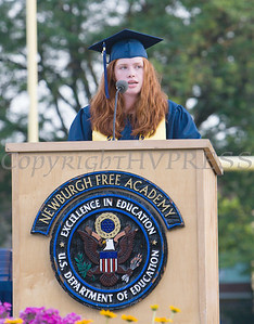 Valedictorian Katherine Gravel addresses fellow classmates during the Newburgh Free Academy 152nd Commencement Exercises for the graduating Class of 2017 on Academy Field in the City of Newburgh, NY on Thursday, June 22, 2017. Hudson Valley Press/CHUCK STEWART, JR.
