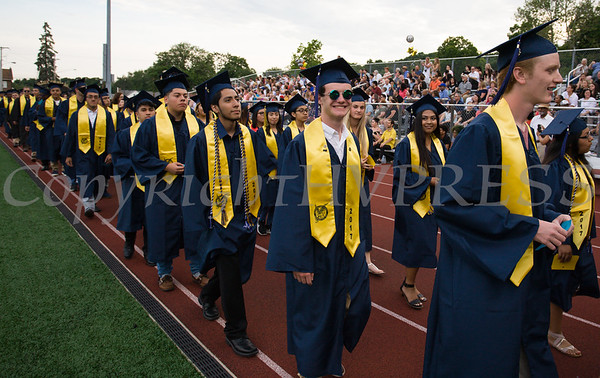 The Academic Processional of Graduates for Newburgh Free Academy's 152nd Commencement Exercises for the graduating Class of 2017 on Academy Field in the City of Newburgh, NY on Thursday, June 22, 2017. Hudson Valley Press/CHUCK STEWART, JR.