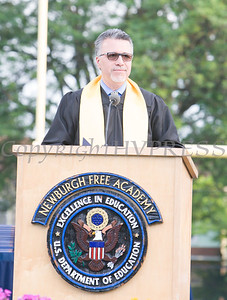 Opening remarks were presented by Newburgh Free Academy Principal Matteo Doddo as Newburgh Free Academy held its 152nd Commencement Exercises for the graduating Class of 2017 on Academy Field in the City of Newburgh, NY on Thursday, June 22, 2017. Hudson Valley Press/CHUCK STEWART, JR.