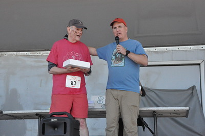 Oldest Loop runner ever John Young (83 years old) from Ridgefield CT with Race technical director Rob Cummings. This was his 6th Loop completed.