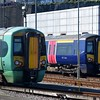 Southern Class 377 Electrostar no. 377450 with former Thameslink no. 377516 at Lover's Walk Depot, Brighton.