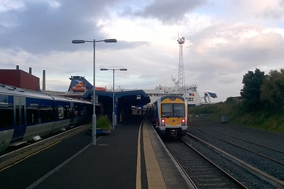 A pictorial record of my first visit to Larne Harbour station. 3022 waits to depart with the 1925 to Belfast Great Victoria Street whilst the ferry to Cairnryan is loaded in the background (08/09/2017)