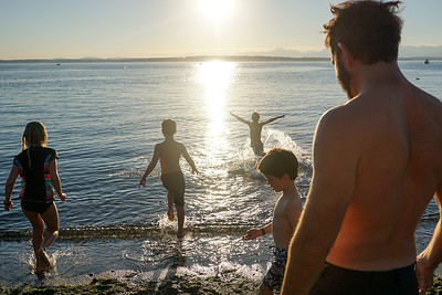We all go in together, last dip of the summer. Connor flies like a bird :D
