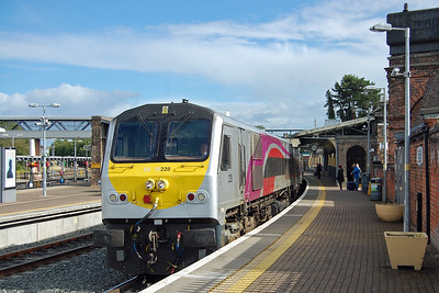 A close-up view of Enterprise-liveried 228 as it draws to a stand at the former junction station (08/09/2017)