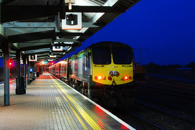 Night falls at Limerick Junction as 217 waits patiently on the rear of the 1920 Cork - Heuston for the arrival of the late running connection from Galway via Limerick (07/09/2017)