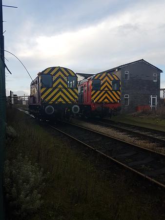 (L-R)  08389 & No3/08630 sit at Cardiff Celsa     29/12/17