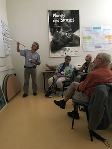 Bruno leading a discussion at the University of Bordeaux, Kimberly Collins