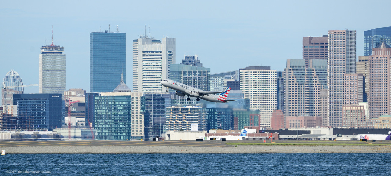 Dallas bound American Airlines A321 takes off from Boston on May 21, 2017.