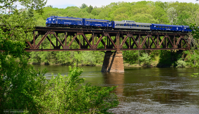 Pan Am's OCS crossing the Connecticut River on the Freigh Main Line heading into East Deerfield.