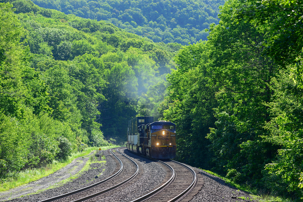 CSX Q019 climbs up the Hill near the Caboose Middleflield on the Morning of June 8, 2017. My first time back to the Caboose in a few years.
