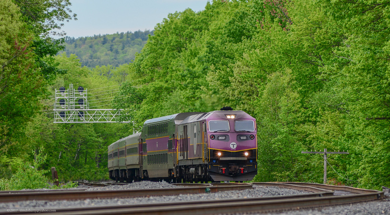 MBTA 2037 takes train 415 on the Station track at Wachusett.