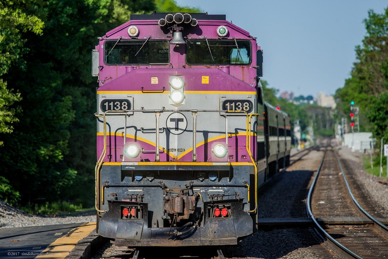 The last GP40MC, MBTA 1138, on train 1409 at Belmont on the Fitchburg Line.