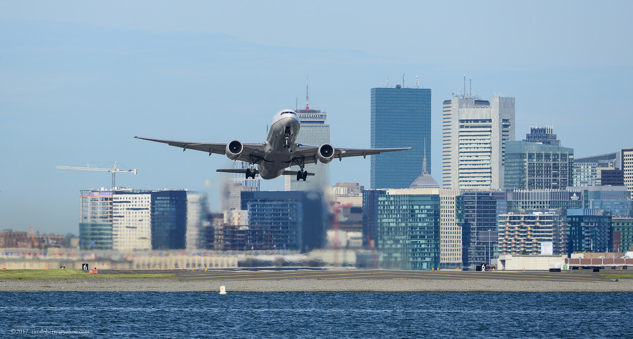 Boston to San Francisco flight 207 takes off from Logan Airport.