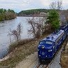 The Northbound Circus train wraps along the Merrimack River in Tyngsboro, MA.