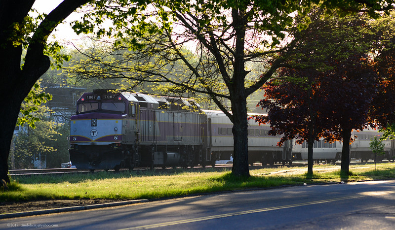 MBTA train 402 making the station stop in Shirley on May 18, 2017.