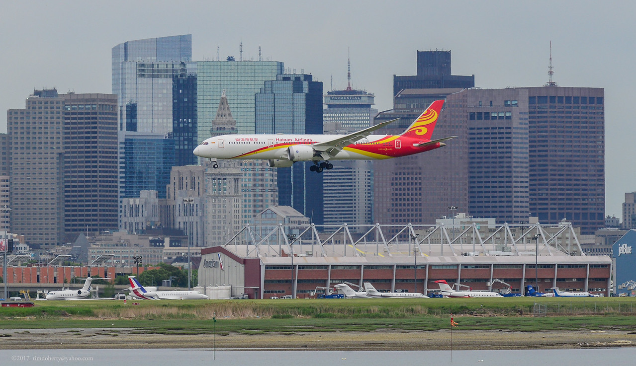 Hainan Airlines Dreamliner arriving in Boston on Sunday June 4, 2017