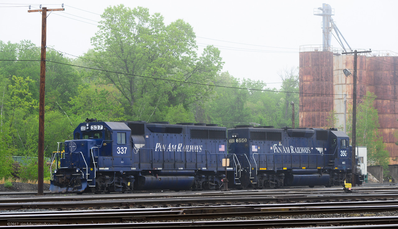 The locomotives for EDBF wait in the fog in East Deerfield.
