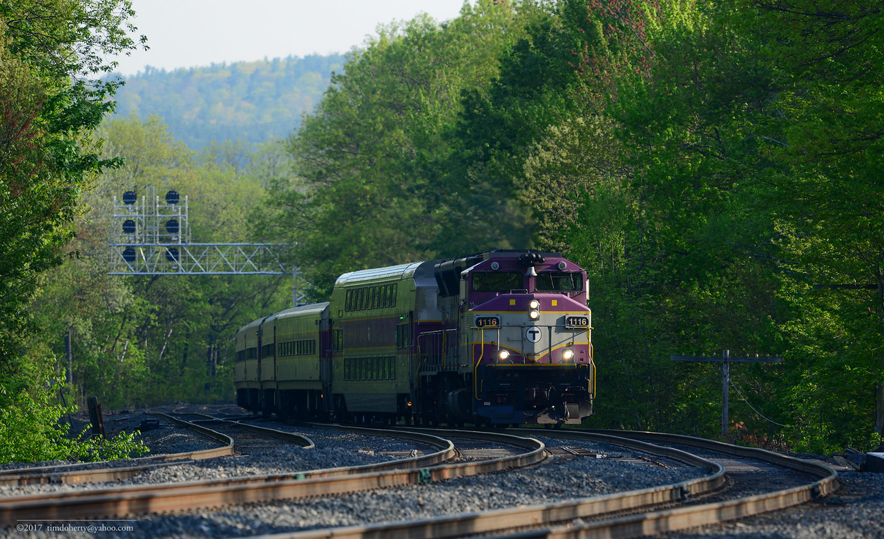 MBTA train 401 entering the station track at Wachusetts on May 18, 2017.