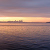 Seattle at sunrise from the Brainbridge Island Ferry.