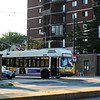 MBTA trackless trolley departs from the North Cambridge Garage on Mass Ave.